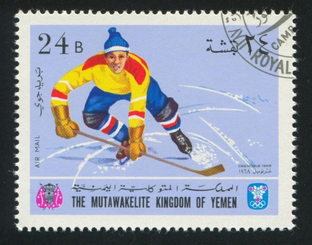 YEMEN - CIRCA 1968: stamp printed by Yemen, shows Hockey, circa 1968 Stock Photo - 17145209