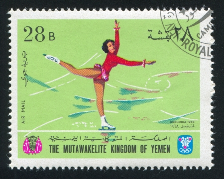 YEMEN - CIRCA 1968: stamp printed by Yemen, shows Figure Skating, circa 1968 Stock Photo - 17145421