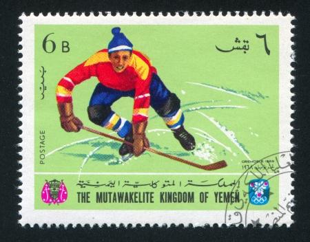 historic world event: YEMEN - CIRCA 1968: stamp printed by Yemen, shows Hockey, circa 1968