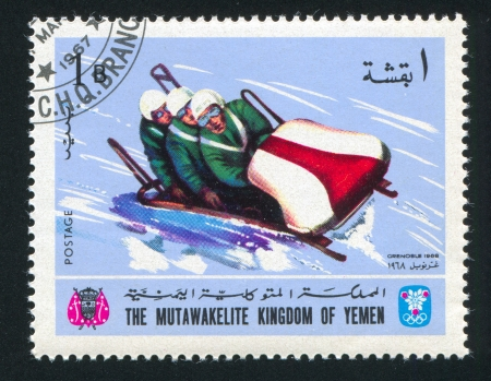 YEMEN - CIRCA 1968: stamp printed by Yemen, shows Bobsleigh, circa 1968 Stock Photo - 17145644