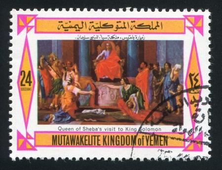 queen of sheba: YEMEN - CIRCA 1968: stamp printed by Yemen, shows Queen Sheba on Throne, circa 1968