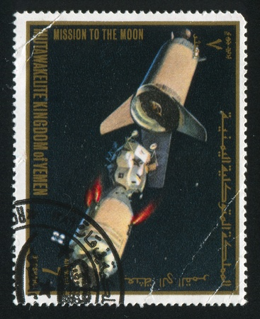 YEMEN - CIRCA 1968: stamp printed by Yemen, shows a Spaceship, circa 1968