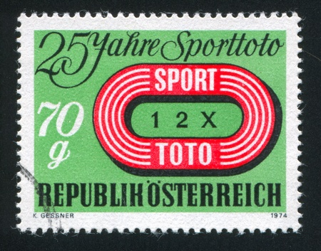 AUSTRIA - CIRCA 1974: stamp printed by Austria, shows Austrian Sports Pool Emblem, circa 1974