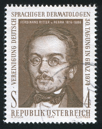 AUSTRIA - CIRCA 1974: stamp printed by Austria, shows Ferdinand Ritter von Hebra, circa 1974 Stock Photo - 17464480