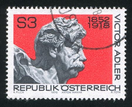 AUSTRIA - CIRCA 1978: stamp printed by Austria, shows Viktor Adler by Anton Hanak, circa 1978 Stock Photo - 17464438