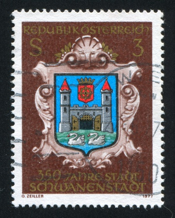 AUSTRIA - CIRCA 1977: stamp printed by Austria, shows Schwanenstadt, town arms, circa 1977 Stock Photo - 17437450