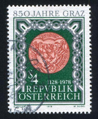 AUSTRIA - CIRCA 1978: stamp printed by Austria, shows Seal of Graz, circa 1978 Stock Photo - 17464384