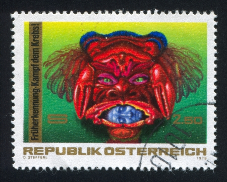 personification: AUSTRIA - CIRCA 1976: stamp printed by Austria, shows personification of Cancer, circa 1976