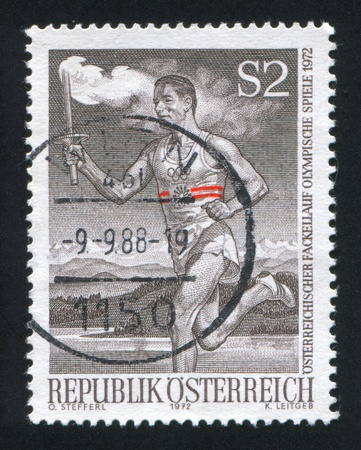 AUSTRIA - CIRCA 1972: stamp printed by Austria, shows Runner with Olympic Torch, circa 1972 Stock Photo - 17464546