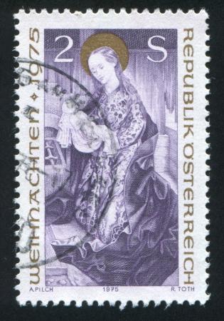 godhead: AUSTRIA - CIRCA 1975: stamp printed by Austria, shows Virgin and Child, circa 1975 Editorial