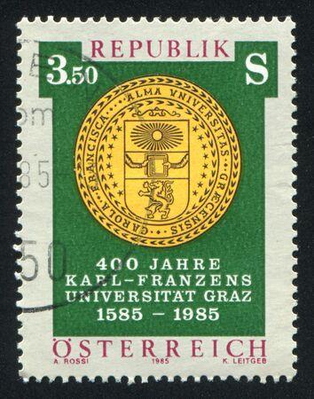 AUSTRIA - CIRCA 1985: stamp printed by Austria, shows Seal of Karl Franzens University, circa 1985 Stock Photo - 17437376