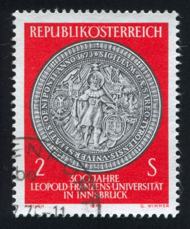 AUSTRIA - CIRCA 1970: stamp printed by Austria, shows Seal of St. Leopold University, circa 1970 Stock Photo - 17464542