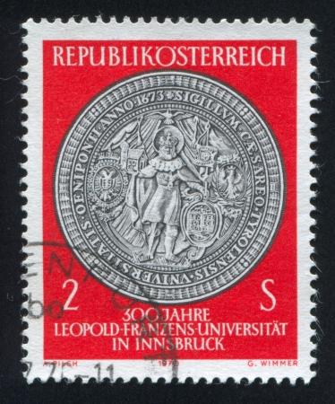 AUSTRIA - CIRCA 1970: stamp printed by Austria, shows Seal of St. Leopold University, circa 1970 Stock Photo - 17464542