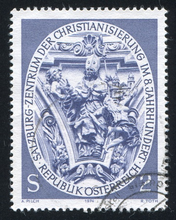 virgil: AUSTRIA - CIRCA 1974: stamp printed by Austria, shows St. Virgil, Sculpture from Nonntal Church, circa 1974 Editorial