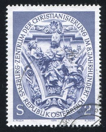 virgil: AUSTRIA - CIRCA 1974: stamp printed by Austria, shows St. Virgil, Sculpture from Nonntal Church, circa 1974 Editorial