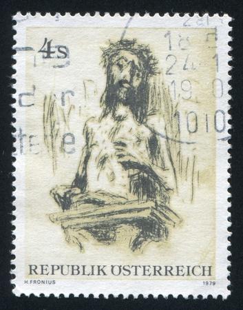 compassionate: AUSTRIA - CIRCA 1979: stamp printed by Austria, shows The Compassionate Christ, by Hans Fronius, circa 1979