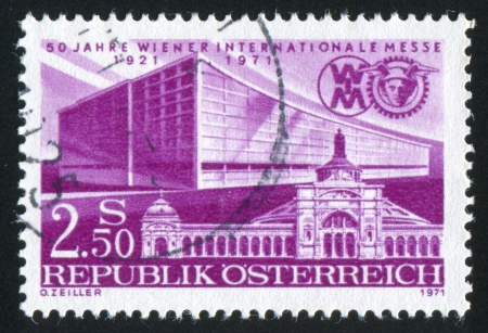 AUSTRIA - CIRCA 1971: stamp printed by Austria, shows First and Latest Exhibition Halls, circa 1971 Stock Photo - 17437363