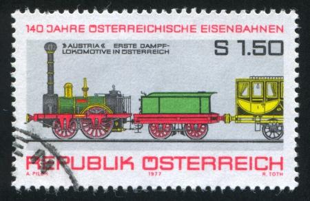 AUSTRIA - CIRCA 1977: stamp printed by Austria, shows First Steam Locomotive, circa 1977 Stock Photo - 17437340
