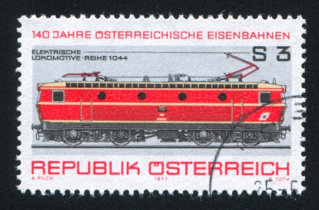 AUSTRIA - CIRCA 1977: stamp printed by Austria, shows Electric locomotive, circa 1977 Stock Photo - 17437419