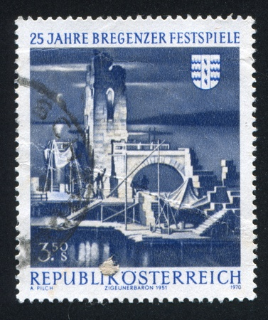 AUSTRIA - CIRCA 1970: stamp printed by Austria, shows Bregenz Festival Stage, circa 1970 Stock Photo - 17464628