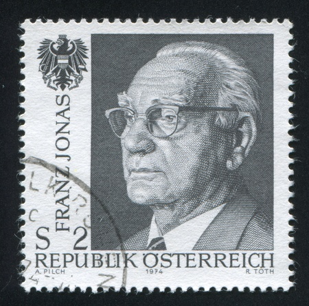 AUSTRIA - CIRCA 1974: stamp printed by Austria, shows Franz Jonas and Austrian Eagle, circa 1974 Stock Photo - 17464629