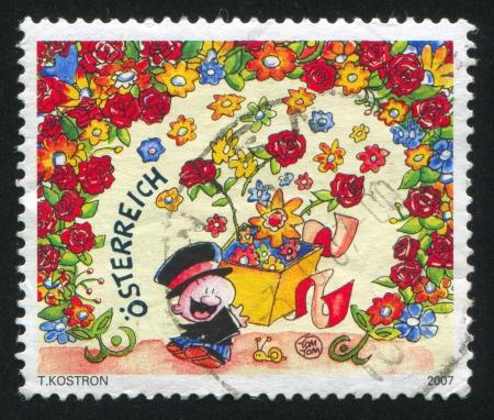 AUSTRIA - CIRCA 2007: stamp printed by Austria, shows Man with flowers, circa 2007 Stock Photo - 17464553