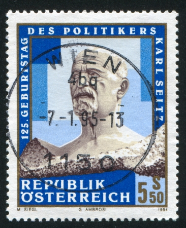 AUSTRIA - CIRCA 1994: stamp printed by Austria, shows Karl Seitz, Politician, circa 1994 Stock Photo - 17464418