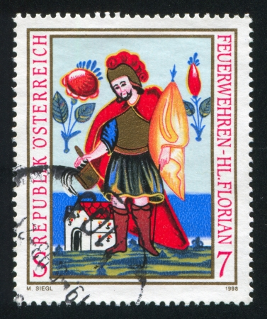AUSTRIA - CIRCA 1998: stamp printed by Austria, shows Saint Florian, Patron Saint of Fire Brigades, circa 1998