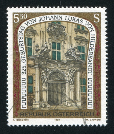 AUSTRIA - CIRCA 1993: stamp printed by Austria, shows Kinsky Palace, designed by Lukas von Hildebrandt, circa 1993 Stock Photo - 17464544
