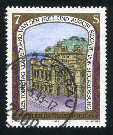 eduard: AUSTRIA - CIRCA 1993: stamp printed by Austria, shows Vienna State Opera, designed by Eduard van der Null and August Siccard von Siccardsburg, circa 1993 Editorial