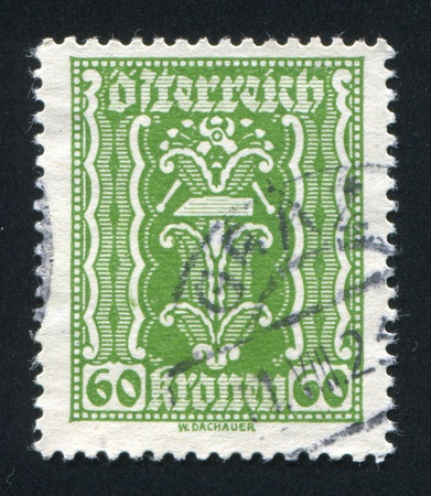 AUSTRIA - CIRCA 1921: stamp printed by Austria, shows ornament, circa 1921 Stock Photo - 17464425