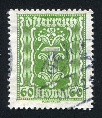 AUSTRIA - CIRCA 1921: stamp printed by Austria, shows ornament, circa 1921 Stock Photo - 17464425