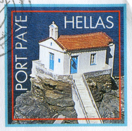 GREECE - CIRCA 2010: stamp printed by Greece, shows house on a rock, Port Paye, circa 2010