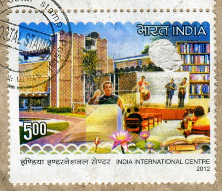 INDIA - CIRCA 2012: stamp printed by India, shows building, bookcase, people, flowers, circa 2012 Stock Photo - 17464446