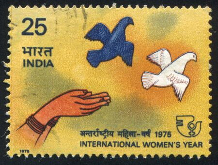INDIA - CIRCA 1975: stamp printed by India, shows Woman's Hands Releasing Doves, circa 1975