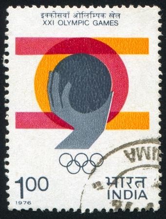 INDIA - CIRCA 1976: stamp printed by India, shows hand, circa 1976 Stock Photo - 17437388