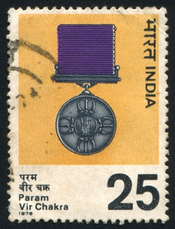 INDIA - CIRCA 1976: stamp printed by India, shows Param Vir Chakra Medal, circa 1976