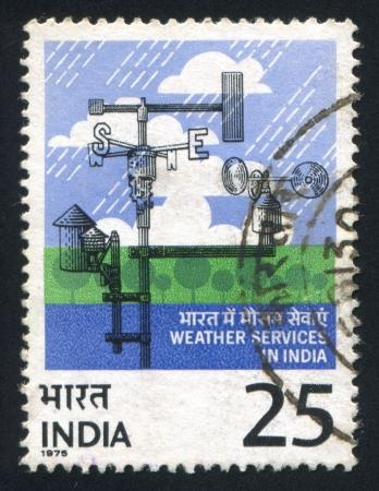 meteorological: INDIA - CIRCA 1975: stamp printed by India, shows Meteorological Instruments, circa 1975 Editorial