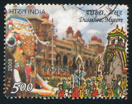 INDIA - CIRCA 2008: stamp printed by India, shows Dussehra festivity, people, elephant, circa 2008 Stock Photo - 17464393