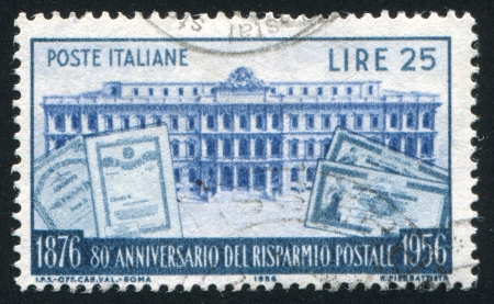 ITALY - CIRCA 1956: stamp printed by Italy, shows Postal Savings Bank and Notes, circa 1956