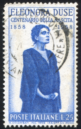 ITALY - CIRCA 1958: stamp printed by Italy, shows Eleonora Duse, circa 1958 Editorial