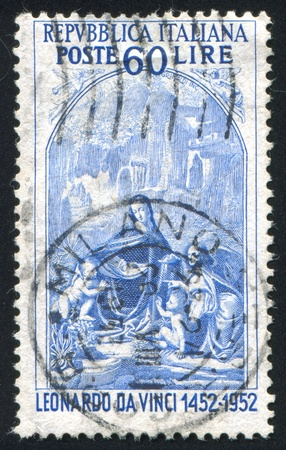 ITALY - CIRCA 1952: stamp printed by Italy, shows Virgin of the Rocks, circa 1952 Stock Photo - 17464503