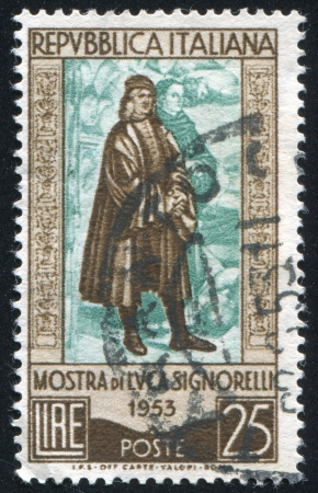 ITALY - CIRCA 1953: stamp printed by Italy, shows Luca Signorelli, circa 1953 Stock Photo - 17437395
