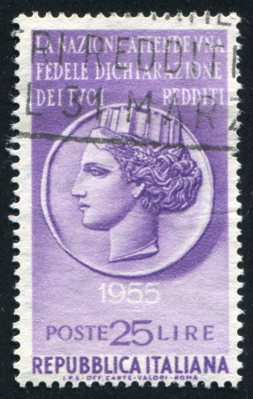 ITALY - CIRCA 1955: stamp printed by Italy, shows Italia, circa 1955