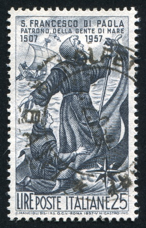 ITALY - CIRCA 1957: stamp printed by Italy, shows St. Francis of Paola, circa 1957