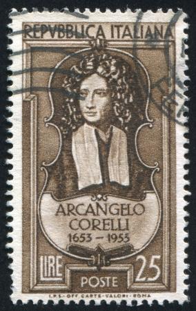 repertoire: ITALY - CIRCA 1953: stamp printed by Italy, shows Arcangelo Corelli, circa 1953