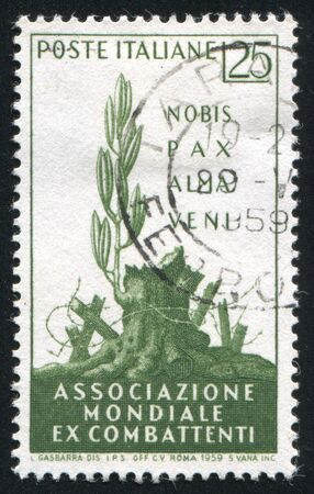 """ITALY - CIRCA 1959: stamp printed by Italy, shows """"A Gentle Peace Has Come"""", circa 1959 Stock Photo - 17437380"""