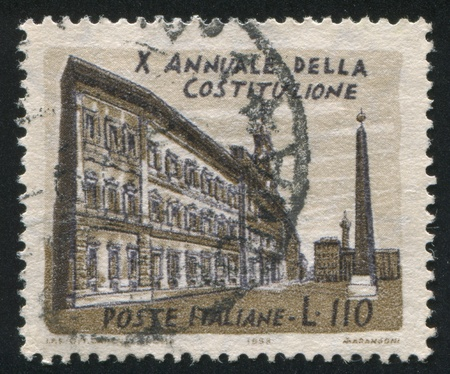 ITALY - CIRCA 1958: stamp printed by Italy, shows Montecitorio Palace, circa 1958 Stock Photo - 17437358