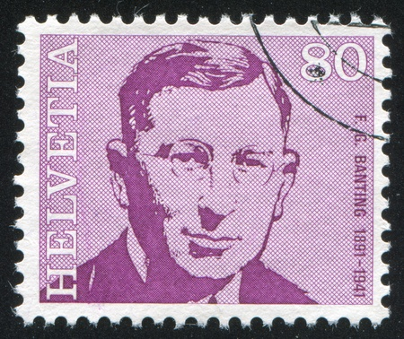 physiologist: SWITZERLAND - CIRCA 1971: stamp printed by Switzerland, shows Frederick Banting, circa 1971 Editorial