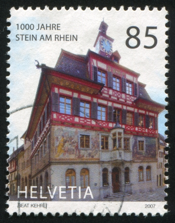 SWITZERLAND - CIRCA 2007: stamp printed by Switzerland, shows Town hall, circa 2007 Stock Photo - 17464448